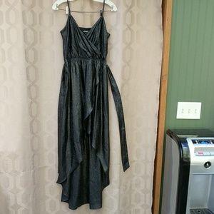 Shiny Black Snake Skin Hi Lo Express Dress